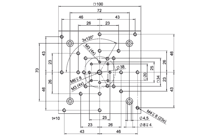 PI M-403.AP1 Adapter Plate Drawing