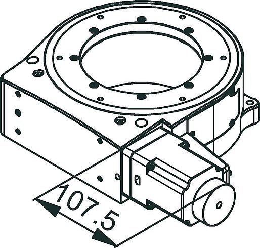 PRS-200 precision rotation stage, stepper motor, dimensions in mm