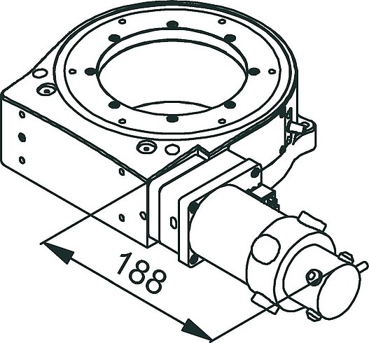 PRS-200 precision rotation stage, DC motor, dimensions in mm